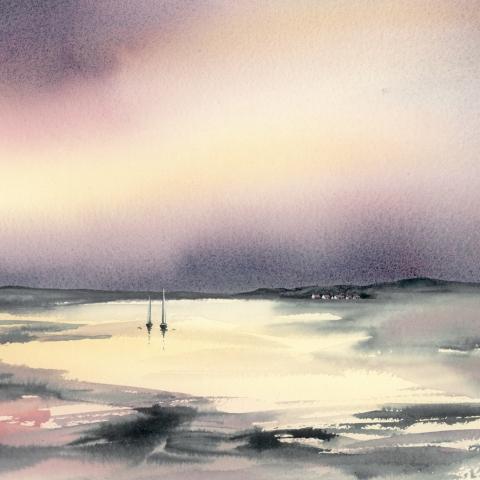 Watercolour landscape with dusky pink, mauve and grey colours by Elizabeth Baldin