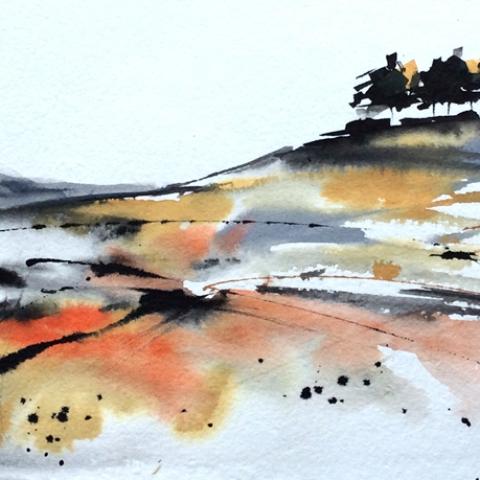 Ink and watercolour landscape by Elizabeth Baldin
