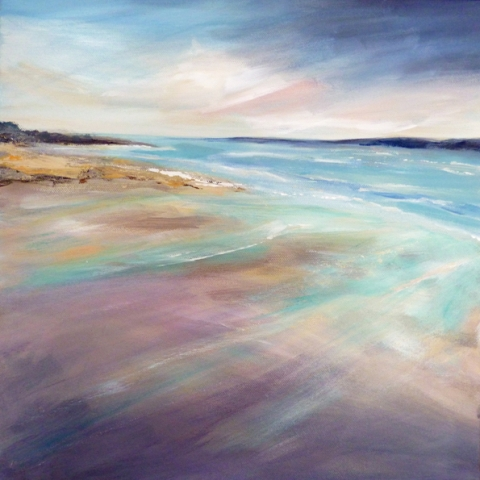 Oil painting of a windswept beach by Elizabeth Baldin