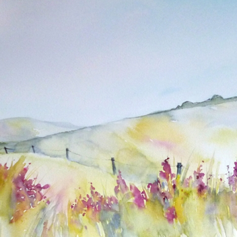 Watercolour landscape with hills and wild flowers by Elizabeth Baldin