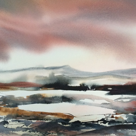 Semi-abstract watercolour landscape of the Scottish Islands by Elizabeth Baldin