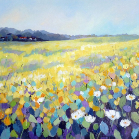 Colourful contemporary landscape painting of hills and meadows with wild flowers by Elizabeth Baldin