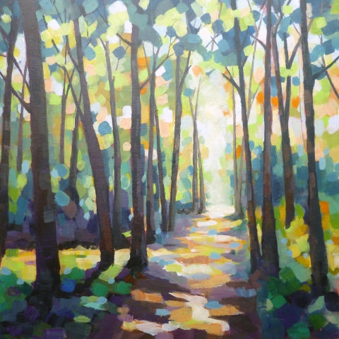 Painting of a sunlit pathway through a forest by Elizabeth Baldin