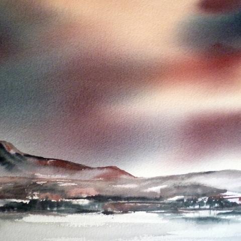 Watercolour landscape of Goat Fell, Arran by Elizabeth Baldin