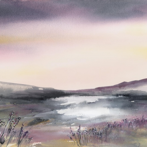 Watercolour and ink landscape of heather and grasses by Elizabeth Baldin