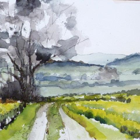 Watercolour sketch of Henley countryside by Elizabeth Baldin