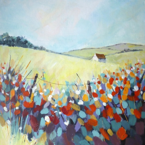 Colourful landscape painting of a white house on a hill by Elizabeth Baldin