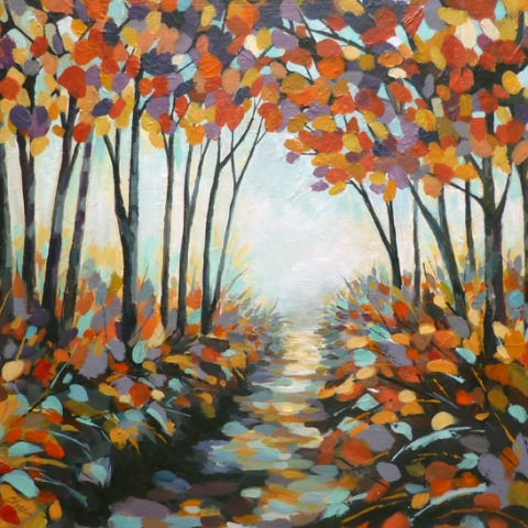 Painting of a pathway through a forest in autumn with yellow red and turquoise colour scheme by Elizabeth Baldin