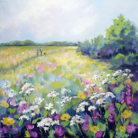 Colourful landscape painting of British hills and meadows with wild flowers and two figures walking a dog by Elizabeth Baldin