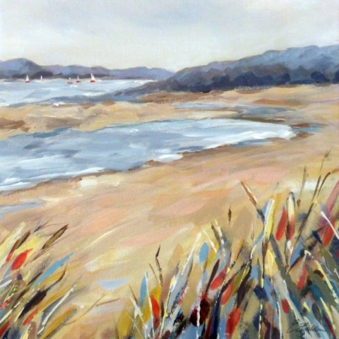 Seascape oil painting of West Wittering by Elizabeth Baldin