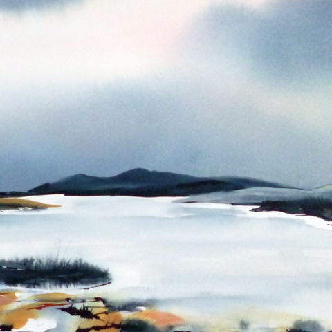 Contemporary watercolour landscape with dark blue sky by Elizabeth Baldin