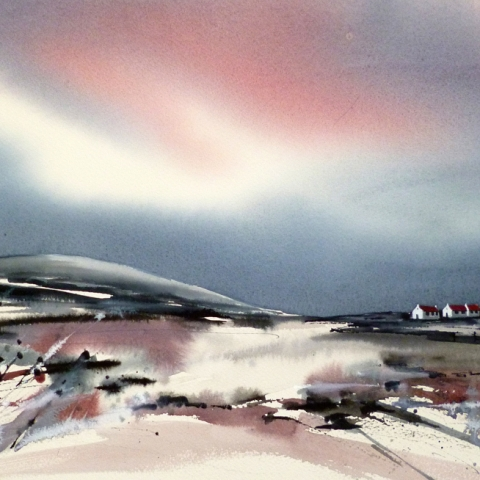 Atmospheric watercolour landscape by Elizabeth Baldin