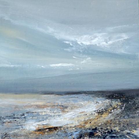 Contemporary seascape in light blue and indigo by Elizabeth Baldin