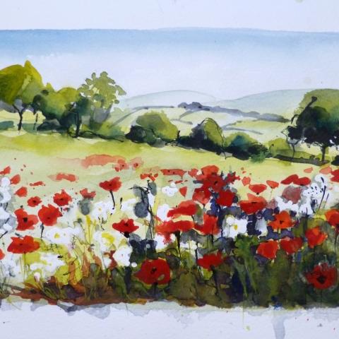Watercolour sketch of Poppy Fields in Oxfordshire by Elizabeth Baldin