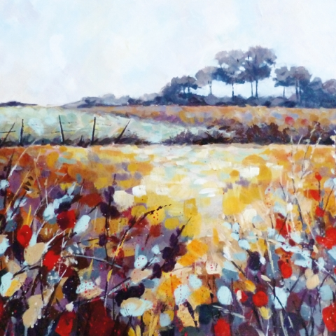 Bright, colourful landscape of hills and meadows with turquoise gold and red colour scheme by Elizabeth Baldin