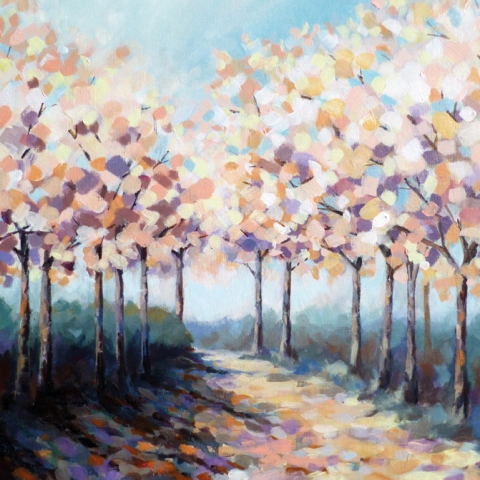 Contemporary painting of trees in blossom in an impressionist style by Elizabeth Baldin