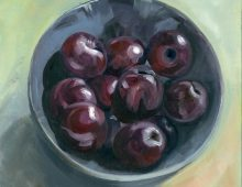 Blue bowl with plums