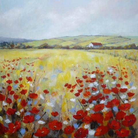 Sunny poppy fields landscape by Elizabeth Baldin