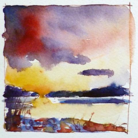 Watercolour sketch of Arnside sunset by Elizabeth Baldin