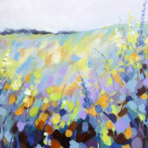 Brightly coloured landscape of hills and wild flowers in blues, yellows and mauves by Elizabeth Baldin