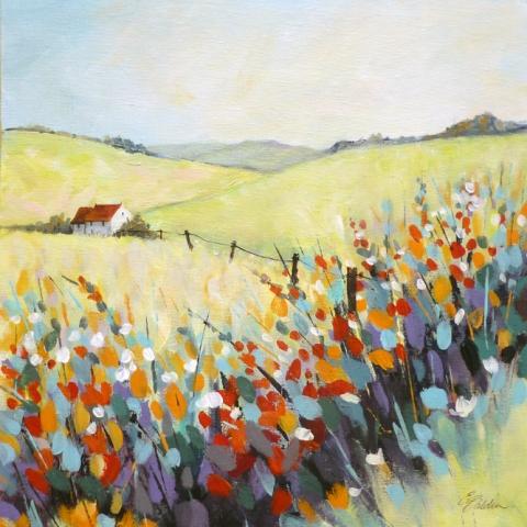 Landscape painting of a white house on a hillside by Elizabeth Baldin