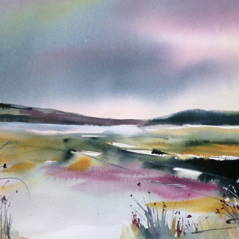 Contemporary watercolour landscape paiinting by Elizabeth Baldin