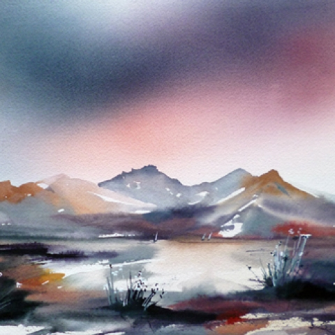 Lake District watercolour painting in burgundy and indigo colour scheme