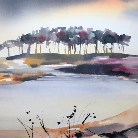 Budleigh Salterton, ink and watercolour painting, Elizabeth Baldin