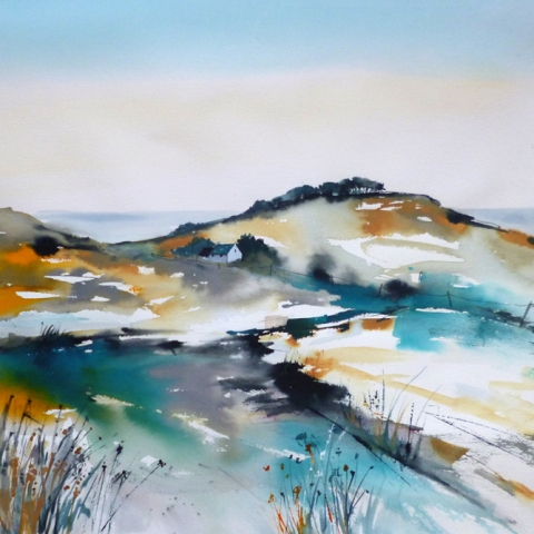 Watercolour and ink landscape of turquoise hills by Elizabeth Baldin