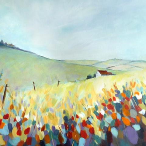 Colourful modern landscape painting by Elizabeth Baldin