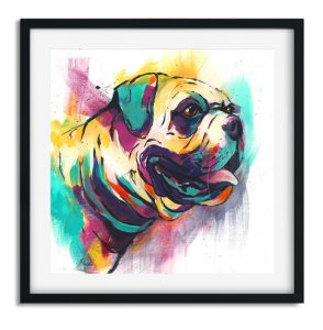 Bright and colourful modern print of a British Bulldog with turquoise, mustard pink and deep blue