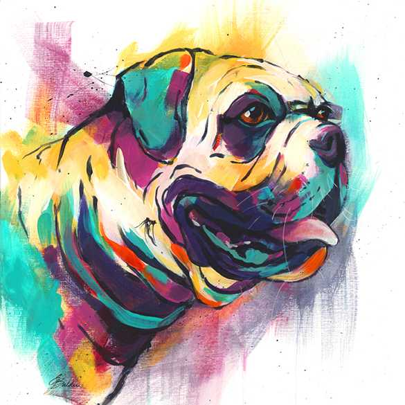Colourful modern print of a British Bulldog