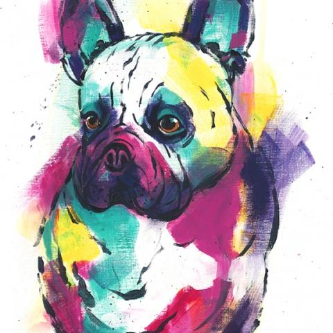 Colourful modern print of a French Bulldog