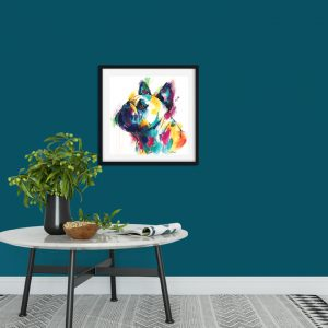French Bulldog print with a black frame in a modern room setting