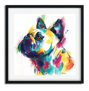 Bright and colourful modern print of a French Bulldog with turquoise, mustard, pink and deep blue