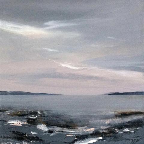Seascape in greys, deep blue and dusky pink colours by Elizabeth Baldin