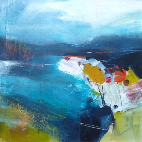Contemporary abstract landscape in turquoise, green, gold and red by Elizabeth Baldin