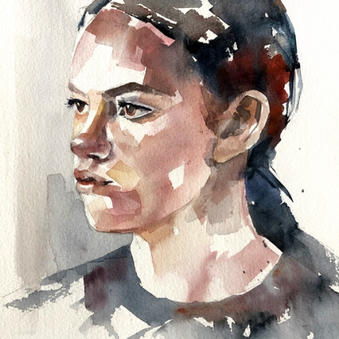 Loose watercolour sketch of a girls face in three-quarter view.